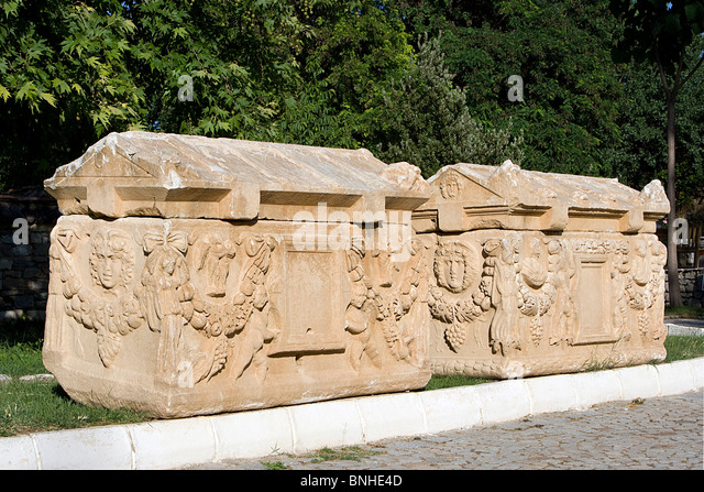 Turkey June 2008 Aphrodisias ancient city ancient site historic ruin ruins Hellenistic Roman Greek history Sarcophagus - Stock Image