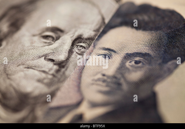 100 dollar note and 1000 yen bank note - Stock Image