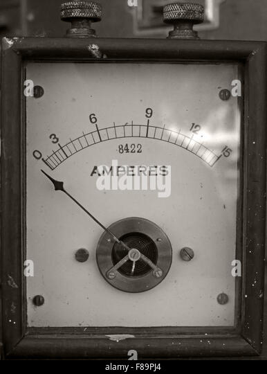 Victorian Amp meter showing Amperes using a needle - Stock Image