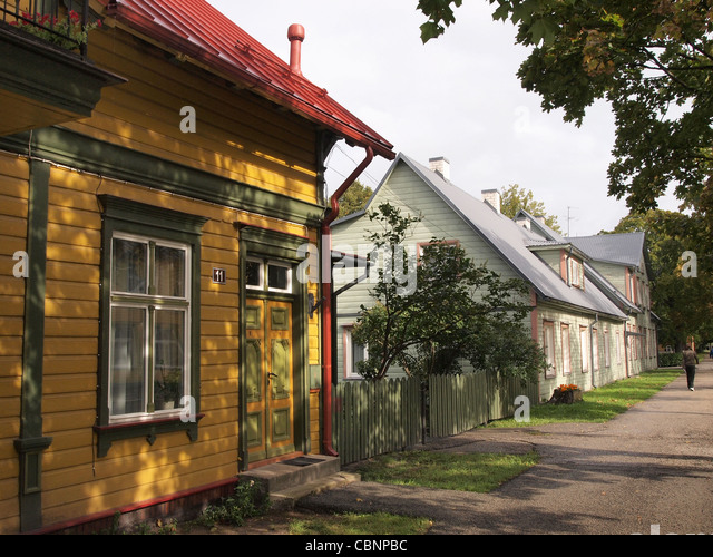 Estonian wooden houses - Stock Image