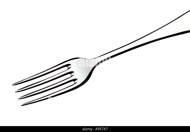 Fork White cut out background - Stock Image