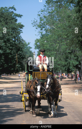 colonial williamsburg virginia va carriage driver in costume driving team of horses - Stock Image