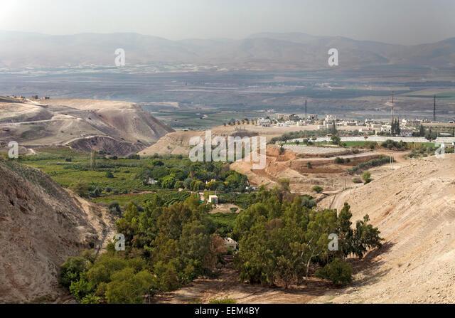 Fertile Jordan Valley, near Irbid, Jordan - Stock Image