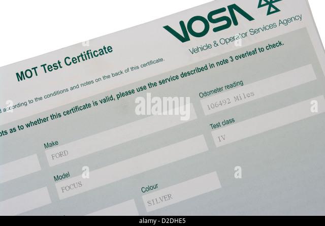 Mot Test Certificate Stock Photos & Mot Test Certificate ...
