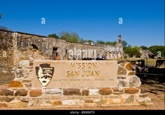 Mission San Juan entrance sign San Antonio missions national historical park us national park service  tourist destination - Stock Image
