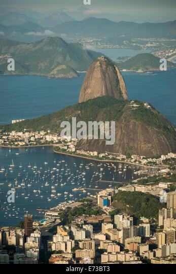 View from Cristo Redentor over Rio de Janeiro, Corcovado, Rio de Janeiro, Brazil, South America - Stock Image