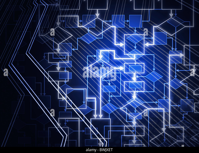 Digital flowchart abstract blue background. Computer software algorithm conceptual illustration. - Stock Image