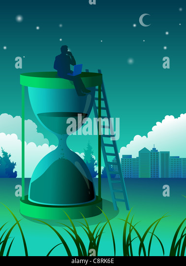 Illustration of  man sitting on top of hourglass - Stock-Bilder
