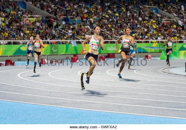 Rio De Janeiro, Brazil. 12th Sep, 2016. French athlete Marie-Amelie Le Fur runs during the women's 400m T44 - Stock Image