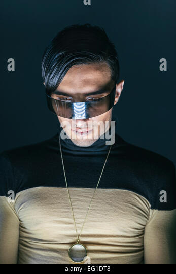 Futuristic Hi-Tech Fashion with Glasses as Technology Gadget - Stock Image