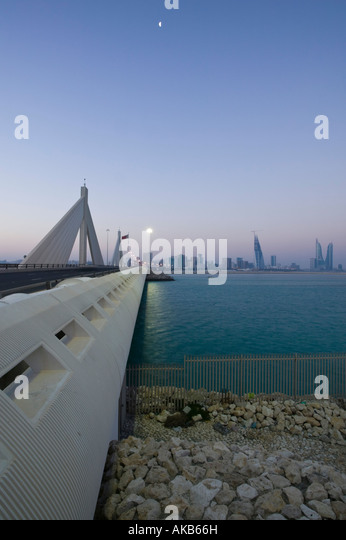 Bahrain Manama Sheikh Isa Causeway Bridge between Manama and Muharraq Island - Stock Image
