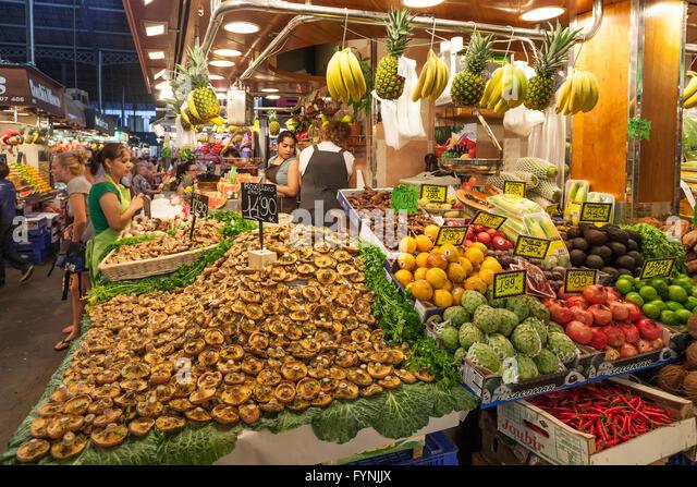 Fruits and vegetables,  Mercat de Sant Josep, Boqueria market, La Rambla, , Barcelona, Spain - Stock Image