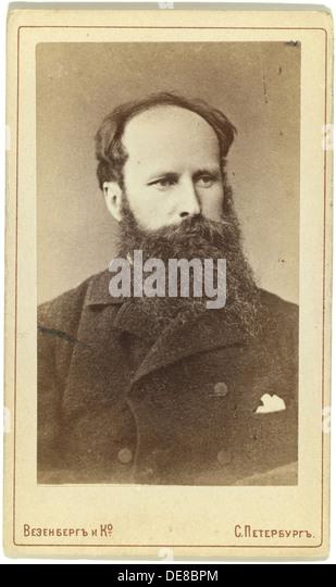 Portrait of the painter Vasily Vereshchagin (1842-1904). Artist: Photo studio Wesenberg - Stock Image