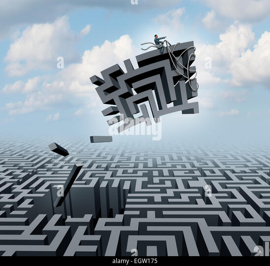 New thinking and empowerment concept as a businessman riding a chunk of a maze or labyrinth as a business or life - Stock Image
