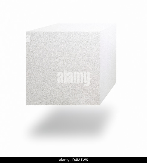Paper cube floating in air over white background - Stock Image