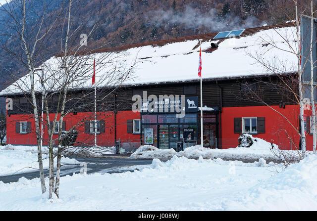 Martigny, Switzerland - January 1, 2015: Saint Bernard museum at Martigny, Switzerland. Winter - Stock Image