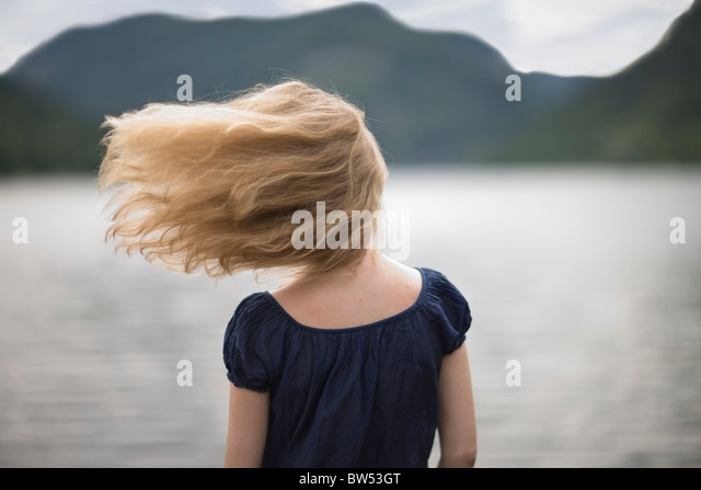 Wind in her hair - Stock Image