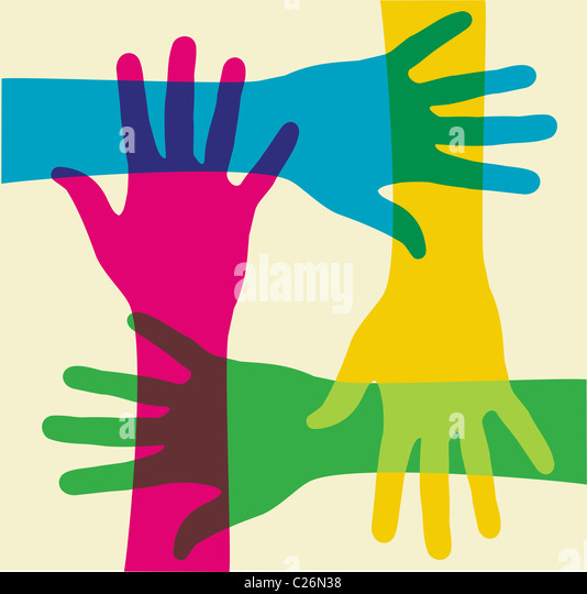 colorful hands illustration over a light background. Vector file available. - Stock-Bilder