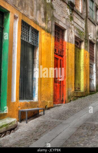 Colorful doors in Ribeira district , Porto, Portugal, Europe - Stock-Bilder