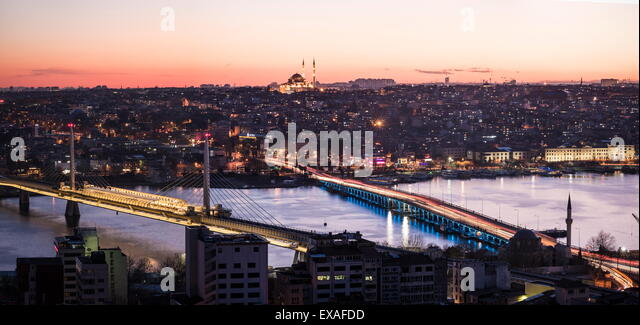 View over Istanbul skyline from The Galata Tower at night, Beyoglu, Istanbul, Turkey, Europe - Stock Image
