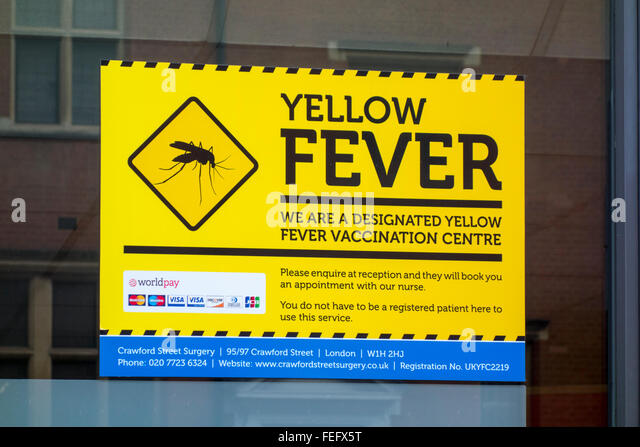 Yellow Fever Vaccination Centre sign - Stock Image