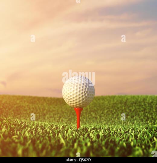 Golf ball on grass , Golf  tournament , Golf course - Stock Image