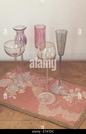 Vintage wine crystal glasses - Stock Image