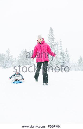 Sweden, Harjedalen, Vemdalen, Klovsjo, Boy on sled - Stock Image