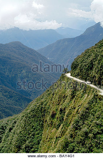 The Yungas Road, Road of Death, Road down to The Yungas, lowlands of the Beni region, Bolivia, South America - Stock-Bilder