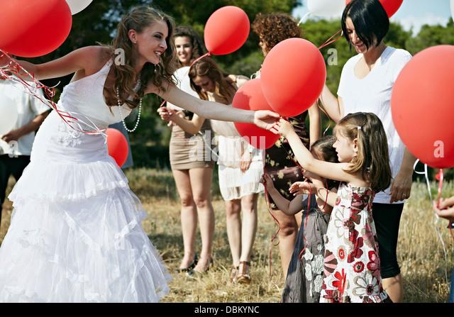 Wedding Guests With Balloons Outdoors, Croatia, Europe - Stock-Bilder