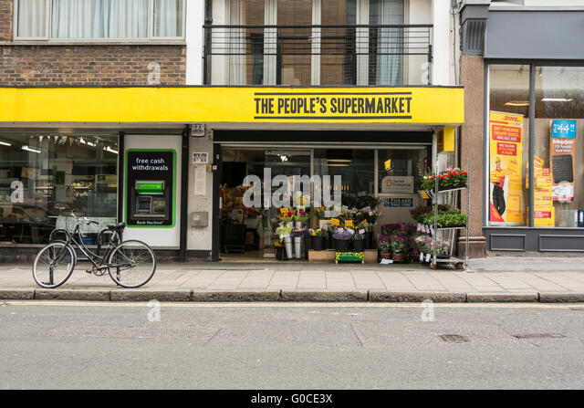 The People's Supermarket food cooperative on Lamb's Conduit Street, London, WC1, UK - Stock Image