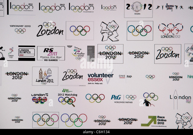 Internet land computer graphic of London Olympics symbol  logos The jagged emblem, based on the date 2012, comes - Stock Image