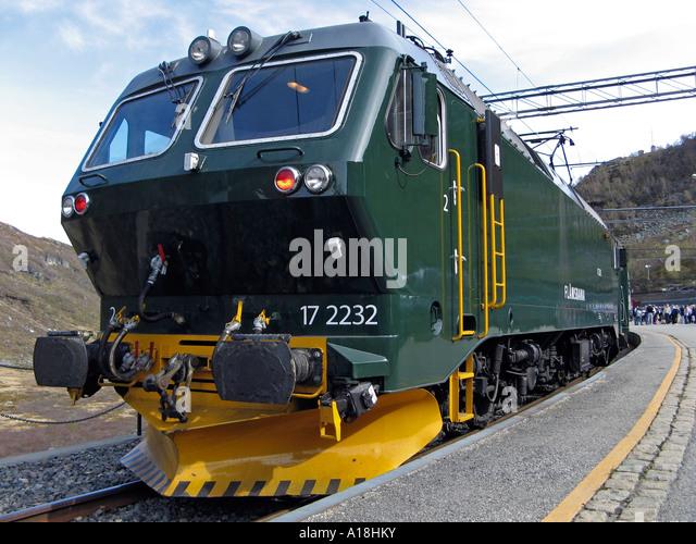 NSB El 17, electric locomotive on the Flåm Railway line in Myrdal - one of the world's steepest railway - Stock Image