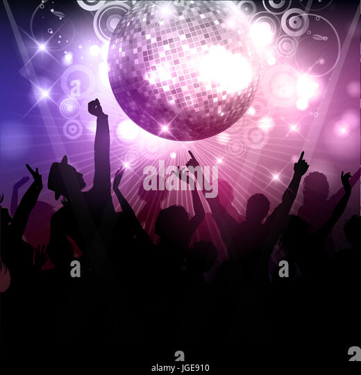Silhouette of a party crowd on a disco ball background - Stock Image
