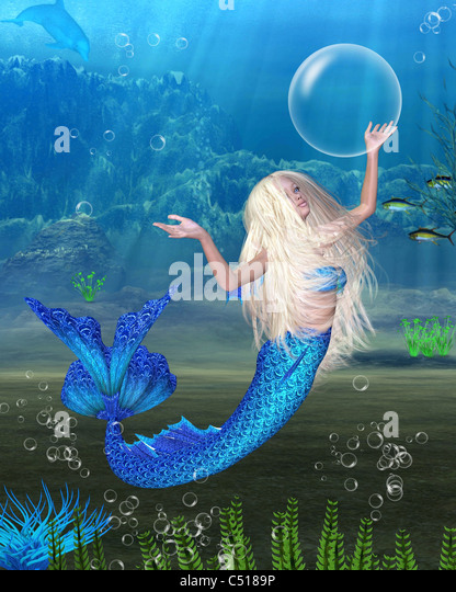 Pretty Blonde Mermaid with underwater background - Stock Image