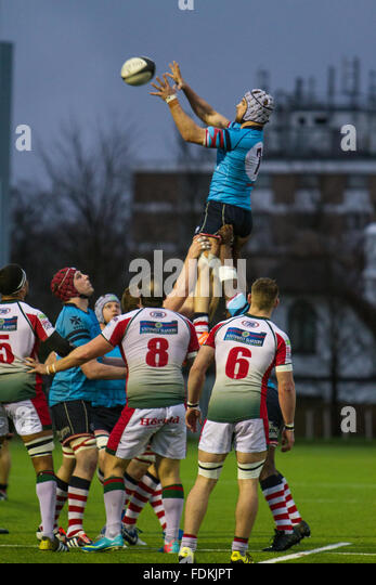 Action from the National League 1 match between Rosslyn Park FC and Plymouth Albion. Final score 24-26 - Stock Image