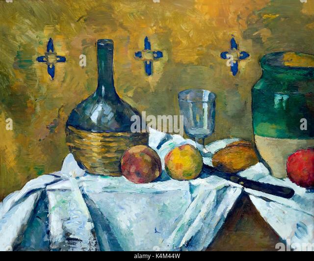 Still Life, Flask, Glass and Jug, by Paul Cezanne, circa 1877, Solomon R. Guggenheim Museum, Manhattan, New York - Stock Image