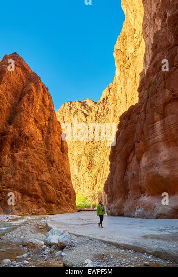 Todra Gorge, natural ravine near Tinerhil. Atlas Mountain region, Morocco - Stock Image