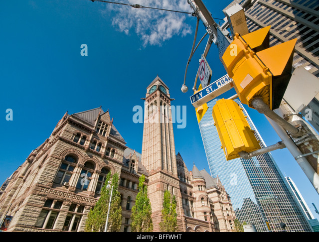 Old City Hall, Corner of Queen Street West & Bay Street, Toronto, Canada, Ontario, North America - Stock Image