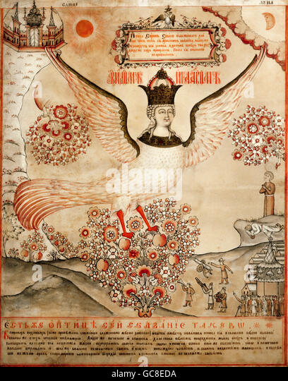 superstition, mythical creatures, Sirin, ink and tempera, Russia, early 19th century, State Historical Museum, Moscow, - Stock Image