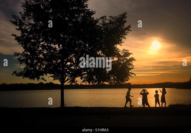Playful sunset, #sunset,  #playing, #children, #evening, #silhouette, #tree, #natureandlife, #playfulevening, #beautifulearth - Stock-Bilder