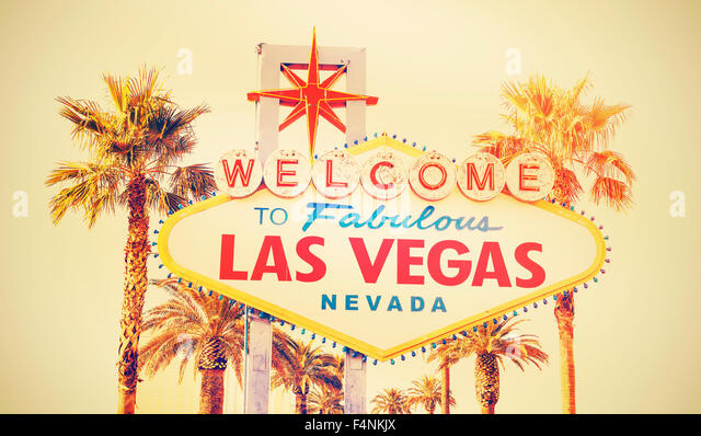 Retro cross processed photo of the Welcome To Las Vegas sign, USA. - Stock Image