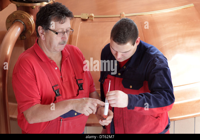 Men checking sample in brewery - Stock Image