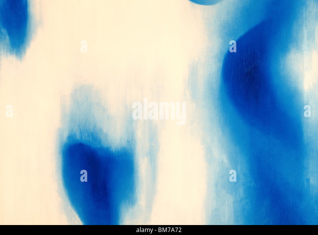 Abstract oil painting with blue shapes - Stock Image