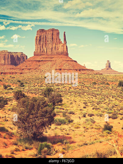 Retro old film style photo of Monument Valley, Utah, USA. - Stock Image
