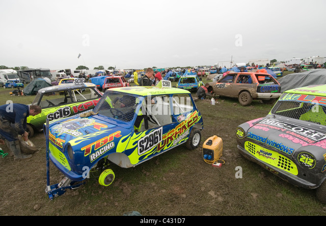 old minis in pits before a grass track race - Stock Image