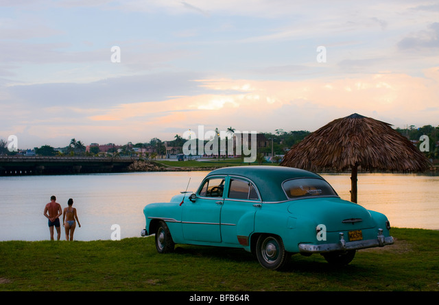 1950s American Car at dusk, Matanzas, Cuba - Stock Image