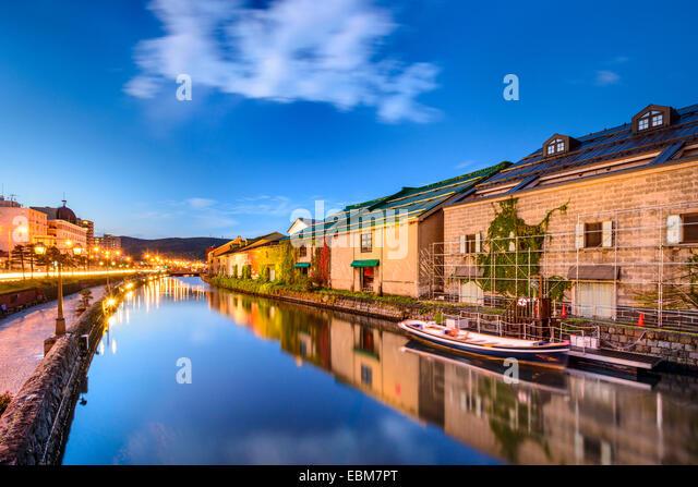 Otaru, Japan historic canal and warehousedistrict. - Stock-Bilder