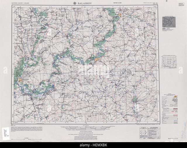 USSR map NM 38-1 Balashov - Stock Image