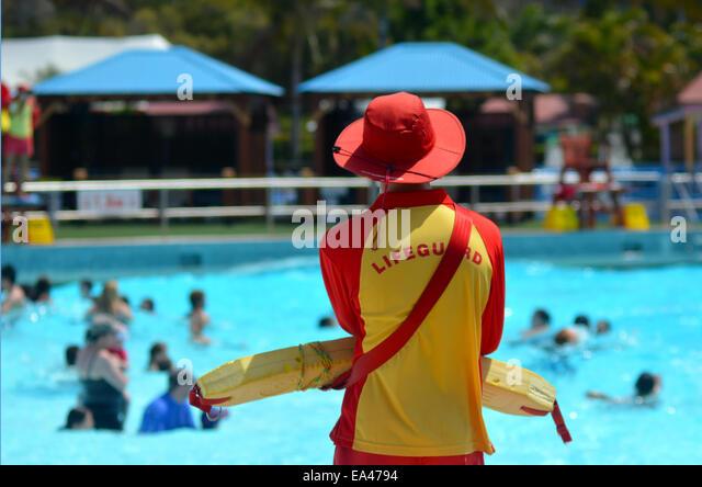 GOLD COAST, AUS - OCT 30 2014:Australian Lifeguard in Wet'n'Wild Gold Coast Australia.They are world-renown - Stock Image